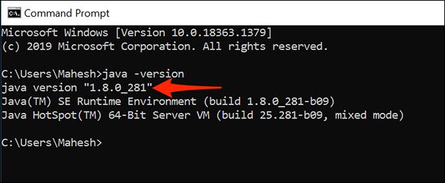 Java verzió megtekintése a Parancssor használatával