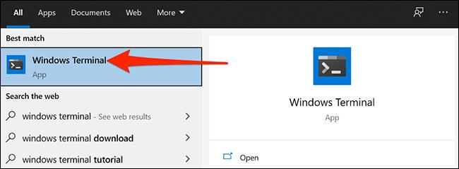Откройте Терминал Windows
