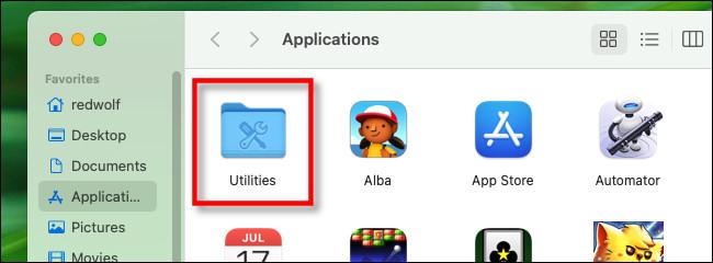 "In the Applications folder, open ""Utilities."""