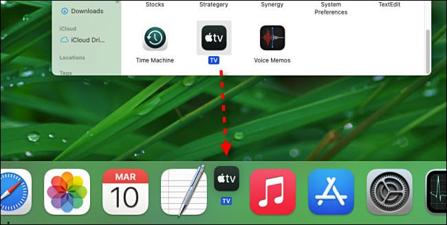 To add an app to the dock, drag its icon there from Finder.