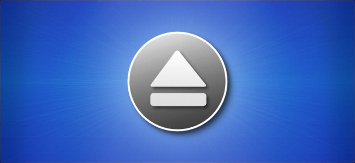 Mac Eject Icon on Blue Background