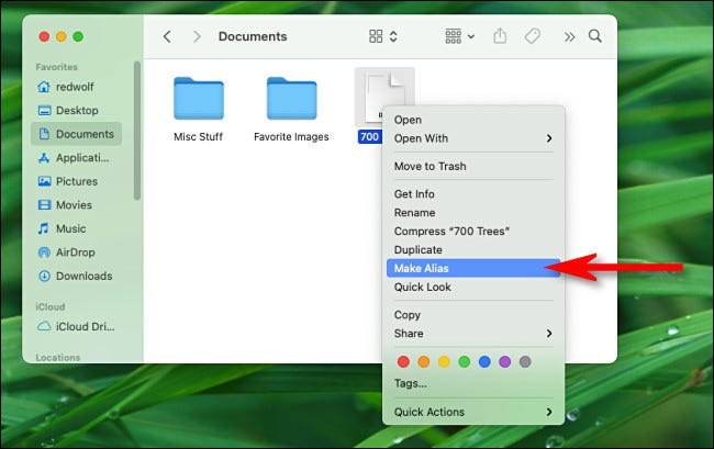 "Right-click a file or folder and select ""Make Alias"" from the menu."
