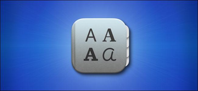 Ícone do aplicativo de livro de fontes Mac Big Sur em fundo azul