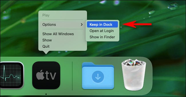 """Right-click the app icon in the dock and select """"Options"""" then """"Keep in Dock."""""""