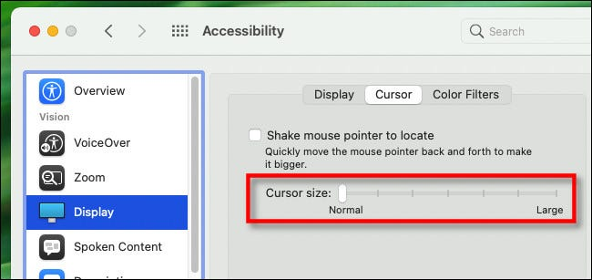 "To make your Mac mouse pointer larger, use the ""Cursor size"" slider."