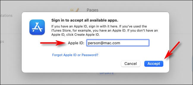 "Enter your Apple ID and click ""Accept."""