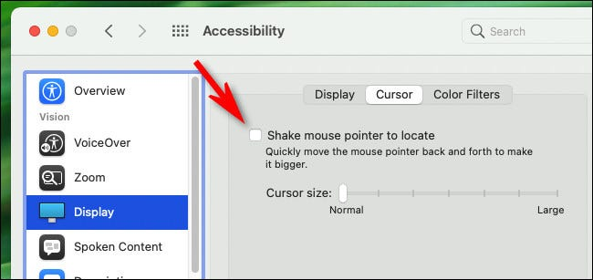 "To disable the shake-to-find mouse pointer feature in macOS, uncheck ""Shake mouse pointer to locate."""