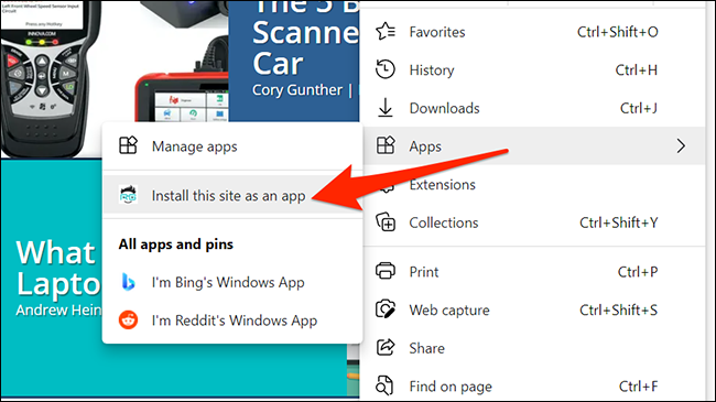 Create a website app in Edge