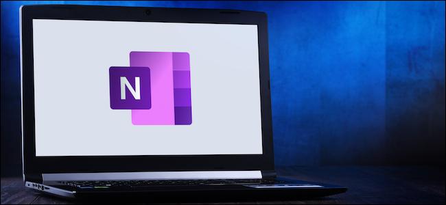 Microsoft OneNote logo on a laptop computer