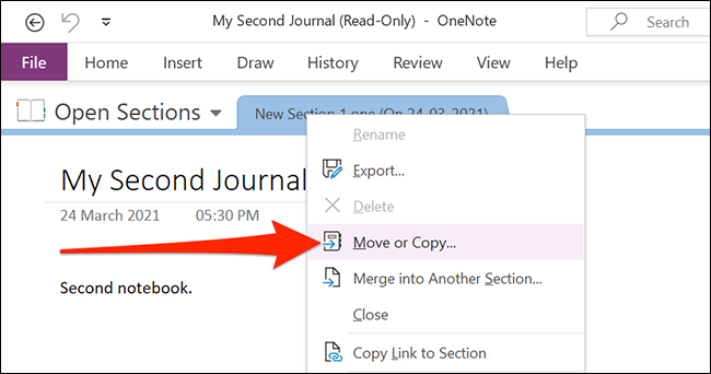 Move or copy OneNote notes