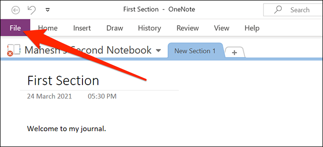 The File menu in OneNote