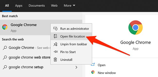 Context menu for Chrome in Start menu
