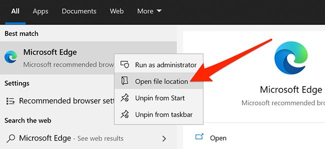 Right-click menu for Edge in Start menu