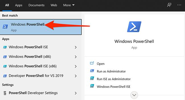 PowerShell in Start menu