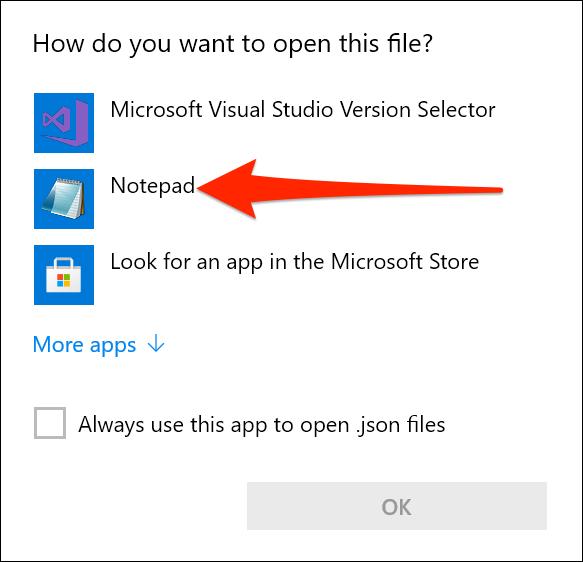 Abra as configurações do Terminal do Windows no Bloco de Notas