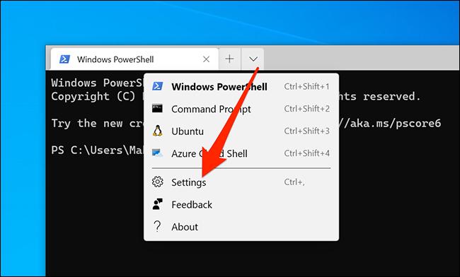 Access Windows Terminal settings