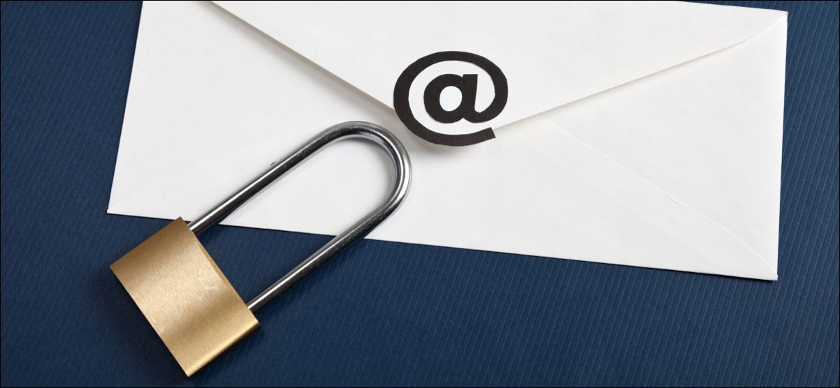 A padlock sitting on an envelope representing an email message.