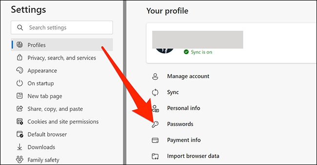Open passwords settings in Edge