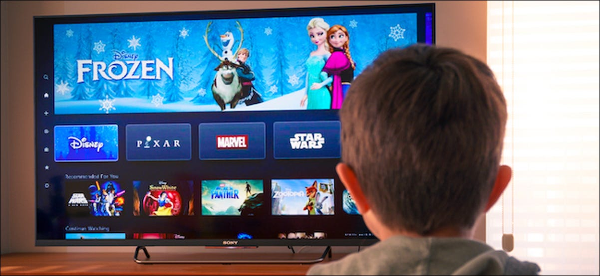 person watching an animated movie on Disney+