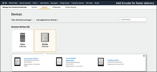 imagem de visualização da lista do Kindle
