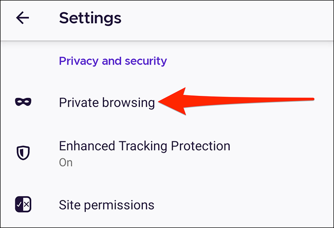 Private browsing settings in Firefox