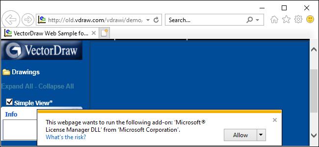 Internet Explorer 11 ActiveX prompt on Windows 10.