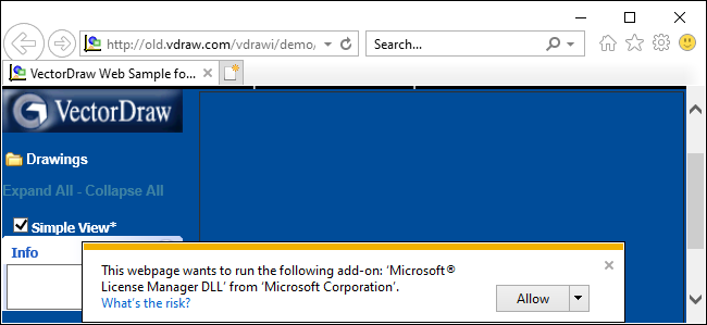 Internet Explorer 11's ActiveX prompt on Windows 10.