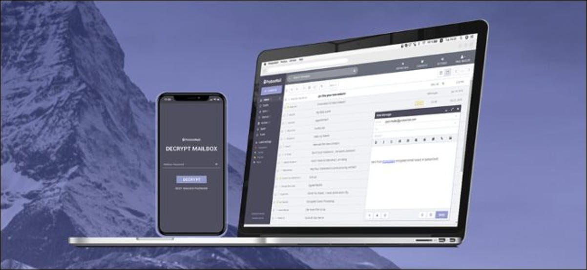 ProtonMail's website and app.