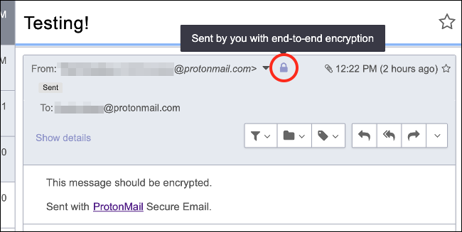 Email Encrypted Internally by ProtonMail