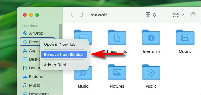 """Right-click """"Recents"""" in a Finder window and select """"Remove from Sidebar."""""""