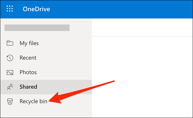 The trash can on OneDrive