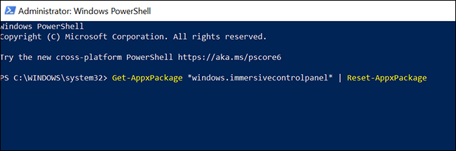 PowerShell window with the command to reset the Settings app