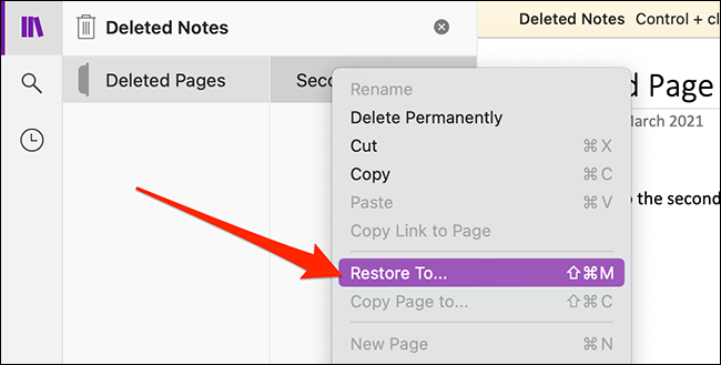 Recover notes in OneNote for Mac