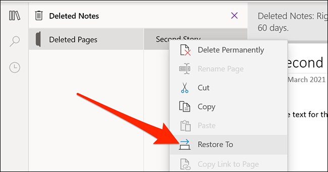 Recover deleted OneNote notes