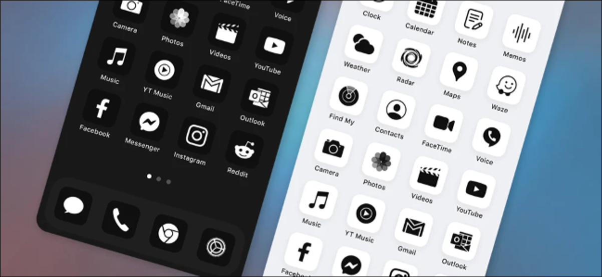 White and black monochrome iPhone icon packs by ruffsnap.