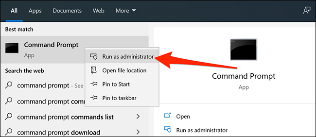 Run the Command Prompt as admin