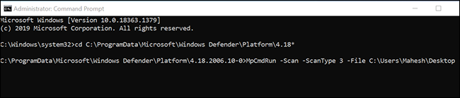 Run a custom virus scan