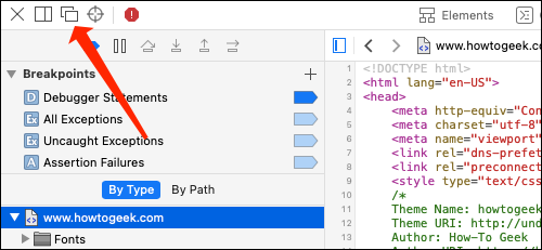 Click the two rectangles icon to open the page source in a new window