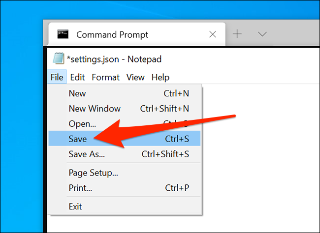 Save Windows Terminal settings file