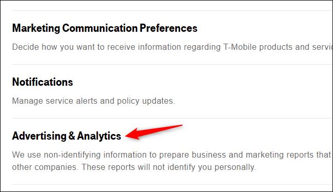 """Clique em """"Publicidade e análises""""."""