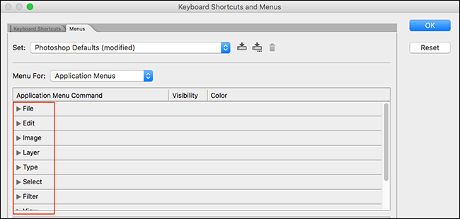 Select a Photoshop menu