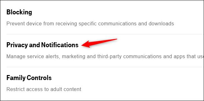 """Clique em """"Privacidade e notificações""""."""