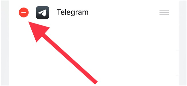 Tap the red minus icon