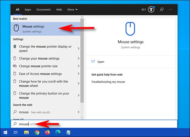 """Click the Start menu and type """"Mouse,"""" then select """"Mouse settings."""""""