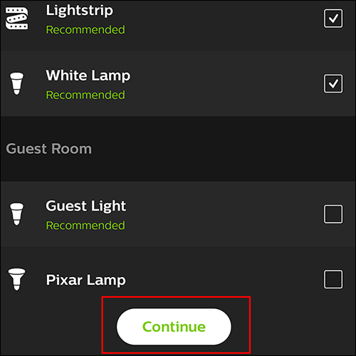 "Select the lights you'd like to use, then tap ""Continue"""