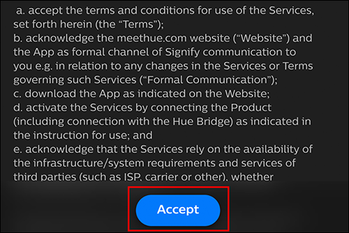 "Agree to the Terms and Conditions by tapping ""Accept"""