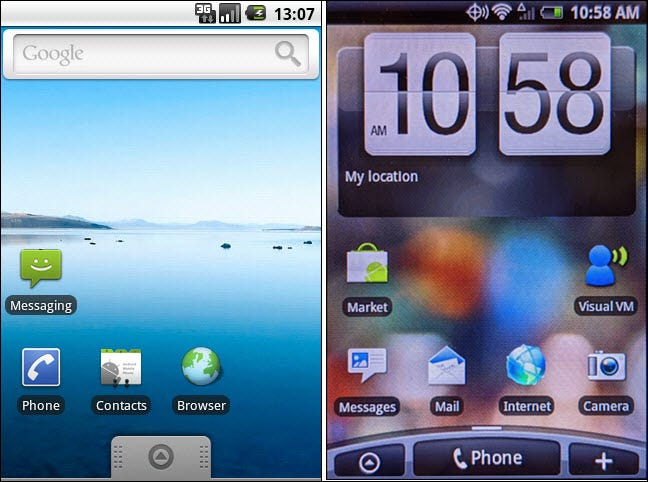 stock android 2.0 vs sense 2.1