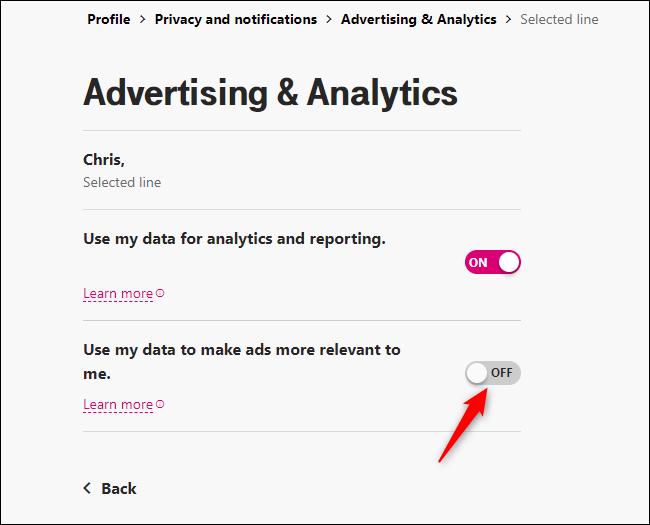 """Desative """"Usar meus dados para tornar os anúncios mais relevantes para mim""""."""