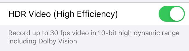 Включить запись видео HDR на iPhone