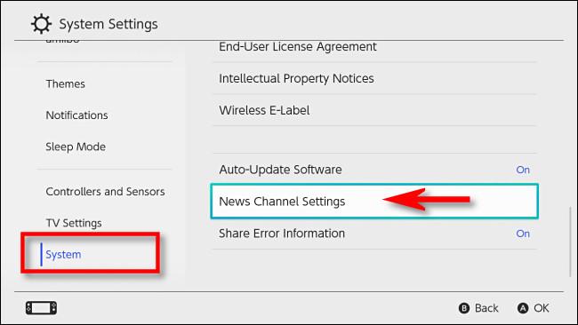 """Trong Cài đặt Hệ thống Nintendo Switch, hãy chọn """"Hệ thống"""" sau đó """"Cài đặt Kênh Tin tức."""""""